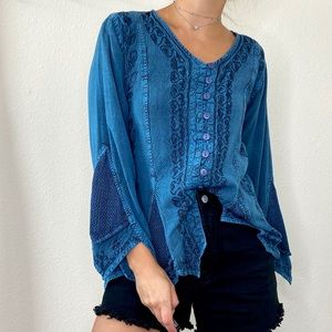 VTG Agan Traders Blue Boho Gypsy Top Embroidered